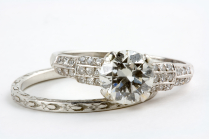 antique silver ring wedding set