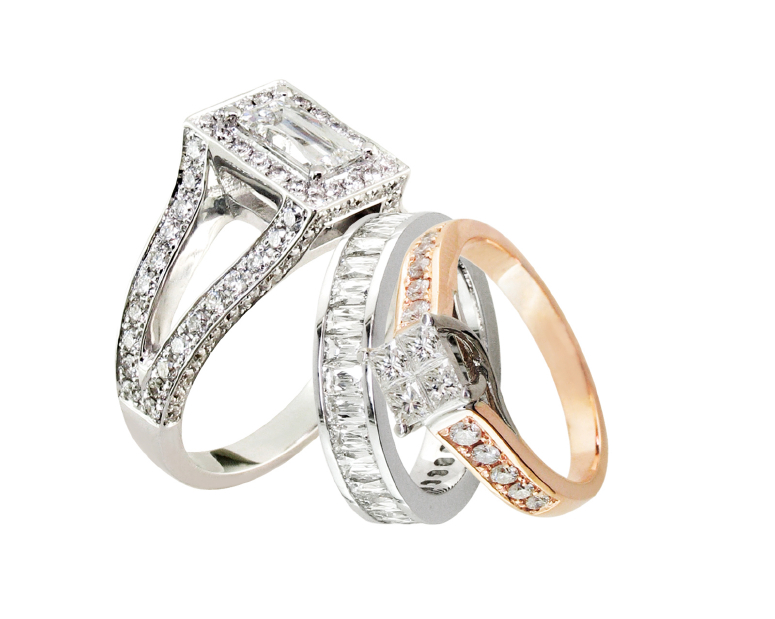 diamond encrusted weding ring set