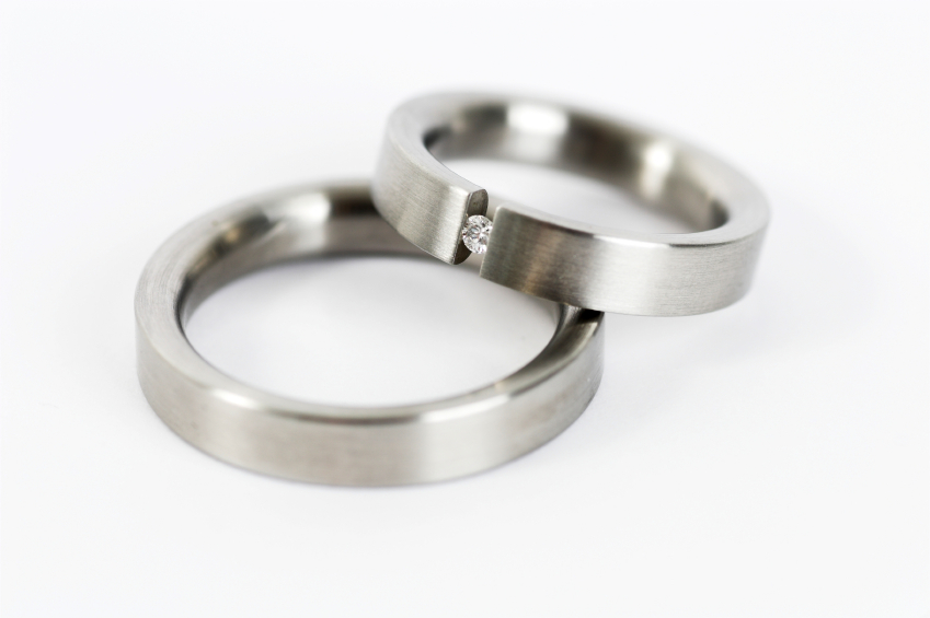 platinum weding band set